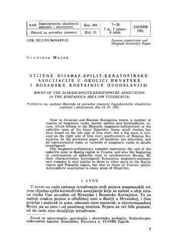 Stijene dijabaz-spilit-keratofirske asocijacije u okolici Hrvatske i Bosanske Kostajnice (Jugoslavija)