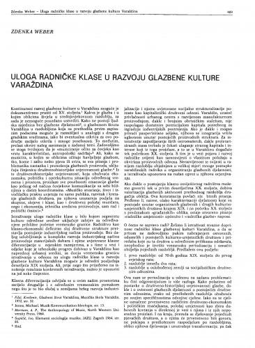 Uloga radničke klase u razvoju glazbene kulture Varaždina