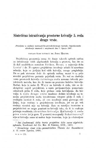 Sintetična istraživanja prostorne krivulje 5. reda druge vrste