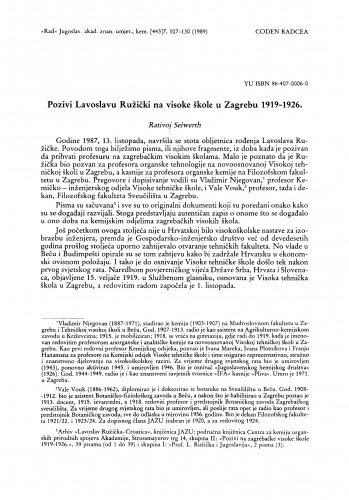 Pozivi Lavoslavu Ružički na visoke škole u Zagrebu 1919-1926