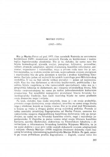 Marko Fotez (1915-1976) : [nekrolozi] / M. Matković