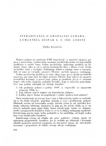 Istraživanja o gradaciji gubara Lymantria dispar L. u 1949. godini / Ž. Kovačević