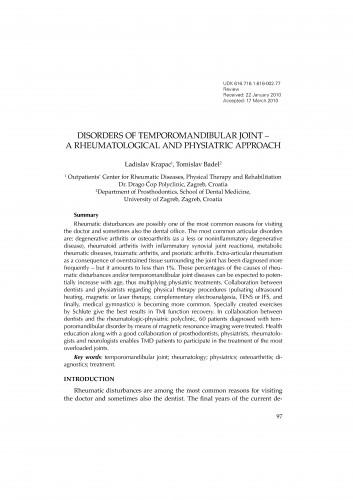 Disorders of temporomandibular joint - a rheumatological and physiatric approach