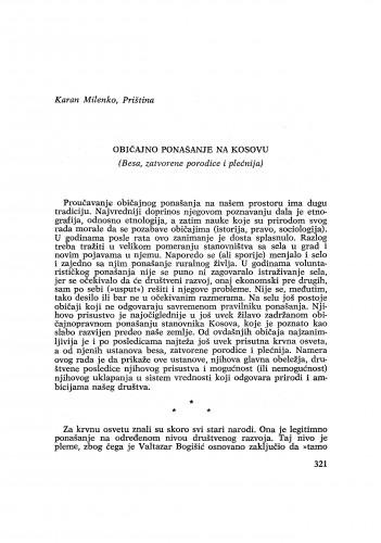 Običajno ponašanje na Kosovu : (Besa, zatvorene porodice i plećnija) / M. Karan