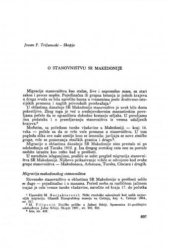 O stanovništvu SR Makedonije / J. F. Trifunoski