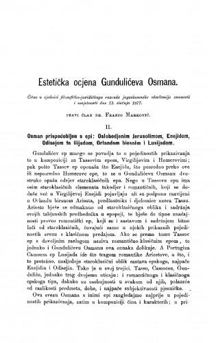 Estetička ocjena Gundulićeva Osmana : RAD