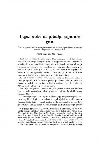 Tragovi oledbe na podnožju zagrebačke gore : RAD