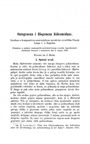 Ontogeneza i filogeneza hidromeduze.