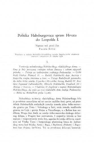 Politika Habsburgovaca spram Hrvata do Leopolda I.