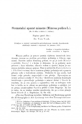 Stomatalni aparat mimoze (Mimosa pudica L.)