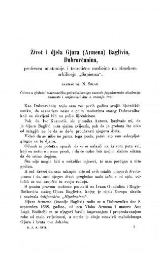 Život i djela Gjura (Armena) Boglivia, Dubrovčanina, profesora anatomije i teoretične medicine na rimskom arhiliceju