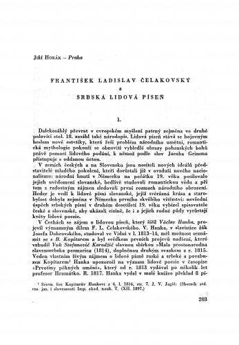 František Ladislav Čelakovský a serbská lidová píseň / J. Horak
