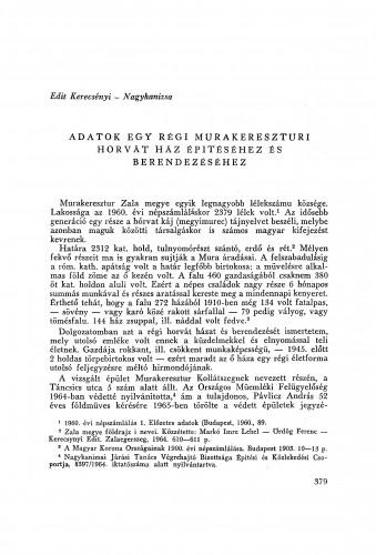 Adatok egy régi murakereszturi Horvát ház épitéséhez és berendezéséhez / E. Kerecsényi