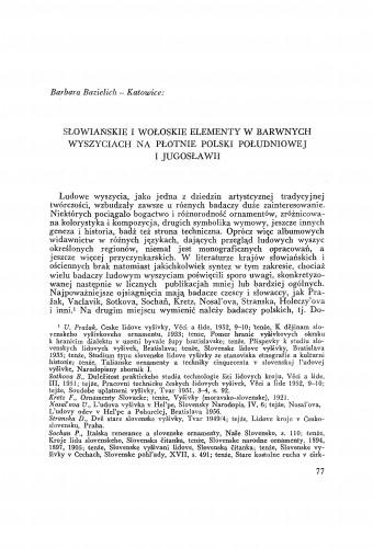 Slowianskie i woťoskie elementy w barwnych wyszyciach na pťotnie polski poťudniowej i Jugoslawii / B. Bazielich