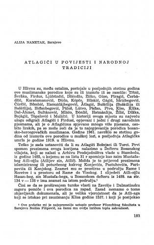 Atlagići u povijesti i narodnoj tradiciji / A. Nametak