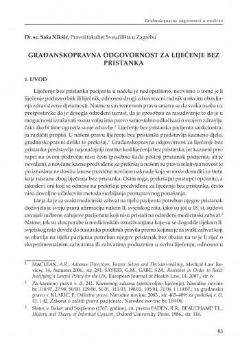 Građanskopravna odgovornost za liječenje bez pristanka : [uvodno izlaganje] : Modernizacija prava