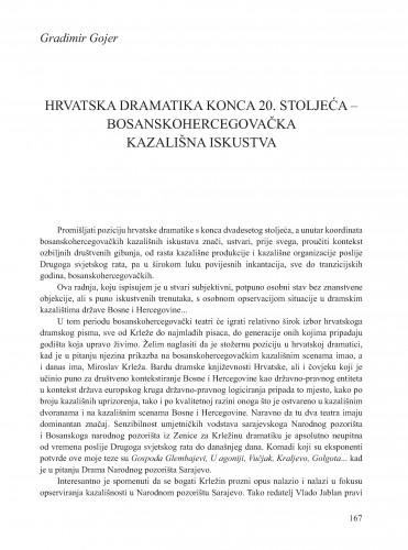 Hrvatska dramatika konca 20. stoljeća - bosanskohercegovačka kazališna iskustva : Krležini dani u Osijeku