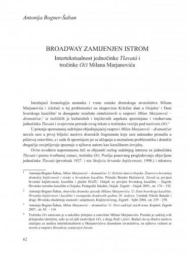 Broadway zamijenjen Istrom : intertekstualnost jednočinke Tlavatá i tročinke Oči Milana Marjanovića : Krležini dani u Osijeku