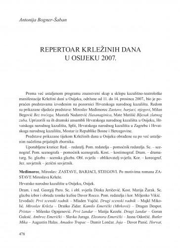 Repertoar Krležinih dana u Osijeku 2007. : [prilog] : Krležini dani u Osijeku