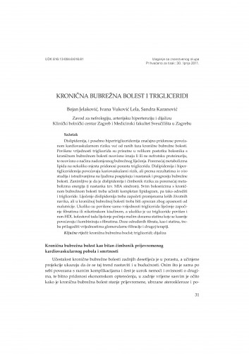 Kronična bubrežna bolest i trigliceridi : Posebna izdanja HAZU. Prilozi za strategiju hrvatskog razvoja