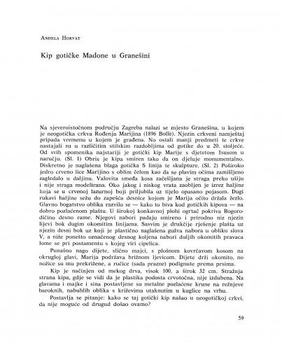 Kip gotičke Madone u Granešini : Bulletin Instituta za likovne umjetnosti Jugoslavenske akademije znanosti i umjetnosti