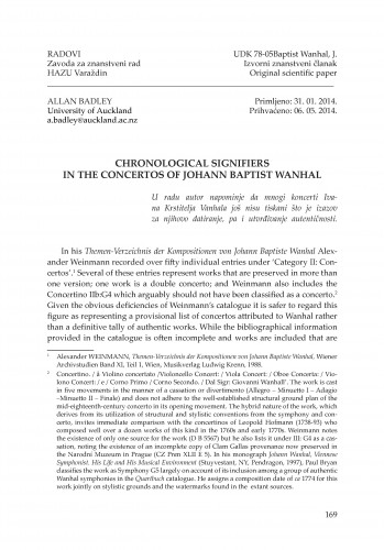 Chronological signifiers in the concertos of Johann Baptist Wanhal : Radovi Zavoda za znanstveni rad Varaždin