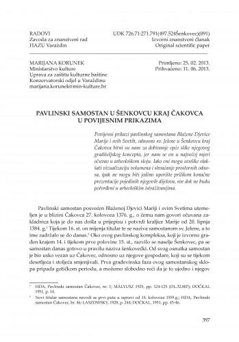 Pavlinski samostan u Šenkovcu kraj Čakovca u povijesnim prikazima : Radovi Zavoda za znanstveni rad Varaždin