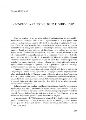 Kronologija Krležinih dana u Osijeku 2013. : [prilog] : Krležini dani u Osijeku
