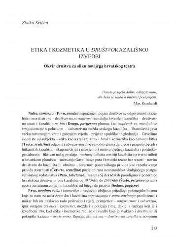 Etika i kozmetika u društvokazališnoj izvedbi : okvir društva za sliku novijega hrvatskog teatra : Krležini dani u Osijeku