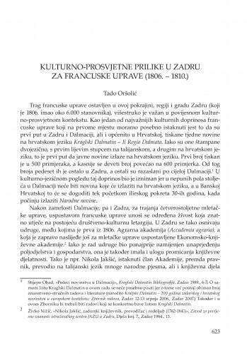 Kulturno-prosvjetne prilike u Zadru za francuske uprave (1806.-1810.)