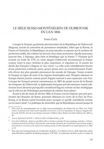 Le siege russo-monténégrin de Dubrovnik en l'an 1806
