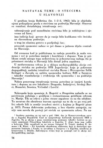 Nastavak teme - O stećcima : Bulletin Zavoda za likovne umjetnosti Jugoslavenske akademije znanosti i umjetnosti