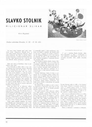 Slavko Stolnik milicionar slikar : Bulletin Instituta za likovne umjetnosti Jugoslavenske akademije znanosti i umjetnosti