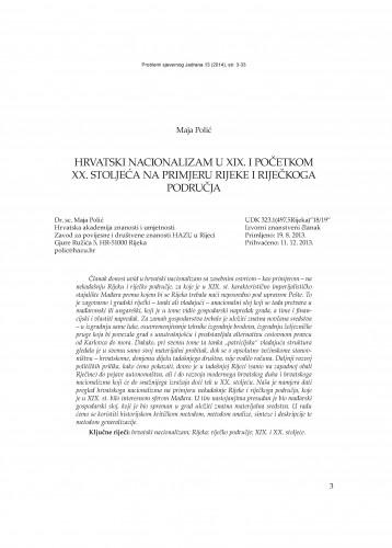 Hrvatski nacionalizam u XIX. i početkom XX. stoljeća na primjeru Rijeke i riječkoga područja : Problemi sjevernog Jadrana