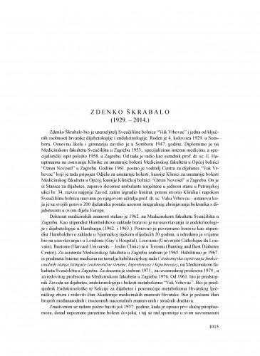 Zdenko Škrabalo (1929.-2014.) : [nekrolog] : Ljetopis