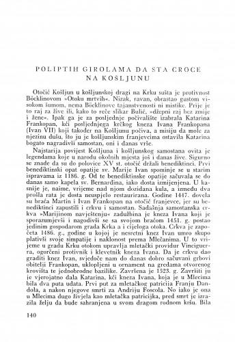 Poliptih na Košljunu : Bulletin Odjela VII. za likovne umjetnosti Jugoslavenske akademije znanosti i umjetnosti