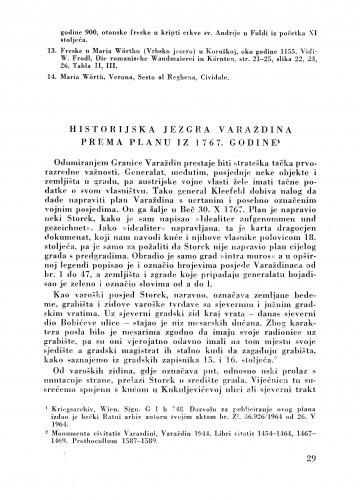 Historijska jezgra Varaždina prema planu iz 1767. godine : Bulletin Zavoda za likovne umjetnosti Jugoslavenske akademije znanosti i umjetnosti