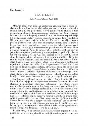 San Lazzaro. P. Klee : Bulletin Instituta za likovne umjetnosti Jugoslavenske akademije znanosti i umjetnosti