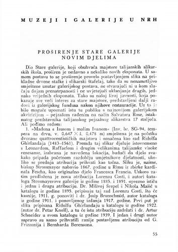 Proširenje Stare galerije novim djelima : Bulletin Odjela VII. za likovne umjetnosti Jugoslavenske akademije znanosti i umjetnosti
