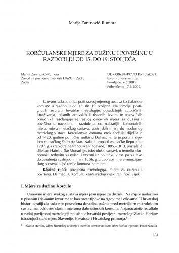 Korčulanske mjere za dužinu i površinu u razdoblju od 15. do 19. stoljeća : Zbornik Odsjeka za povijesne znanosti Zavoda za povijesne i društvene znanosti Hrvatske akademije znanosti i umjetnosti