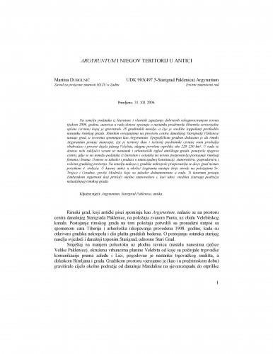 Argyruntum i njegov teritorij u antici : Radovi Zavoda za povijesne znanosti HAZU u Zadru