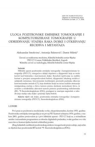 Uloga pozitronske emisijske tomografije i kompjutorizirane tomografije u određivanju stadija raka dojke i otkrivanju recidiva i metastaza