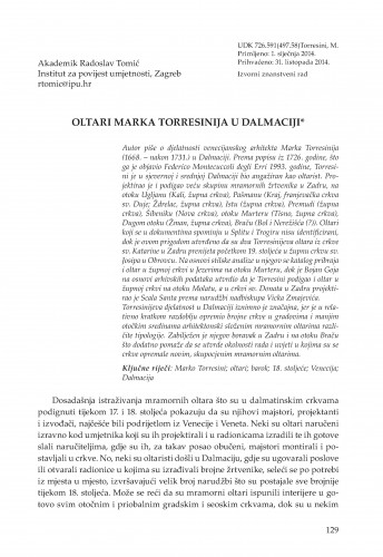 Oltari Marka Torresinija u Dalmaciji : Adrias : zbornik Zavoda za znanstveni i umjetnički rad Hrvatske akademije znanosti i umjetnosti u Splitu