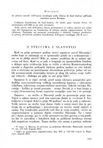 O stećcima u Slavoniji : Bulletin Zavoda za likovne umjetnosti Jugoslavenske akademije znanosti i umjetnosti