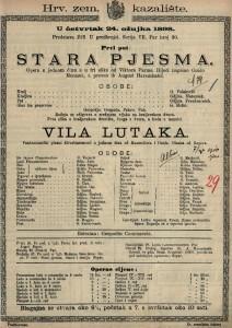 Stara pjesma : Opera u jednom činu a u tri slike / od Viktora Parme