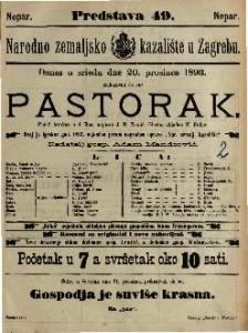Pastorak Pučki igrokaz u 4 čina / napisao J. E. Tomić