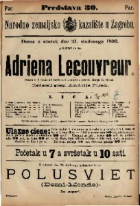 Adriena Lecouvreur Drama u 5 činah / od Scribe-a i Legouve-a