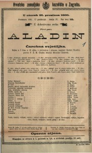 Aladin ili Čarobna svjetiljka bajka u tri čina u 12 slika, s pjevanjem i plesom / napisao Gustav Raeder