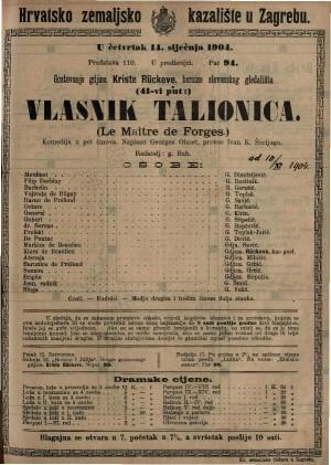 Vlasnik talionica komedija u pet činova / napisao Georges Ohnet