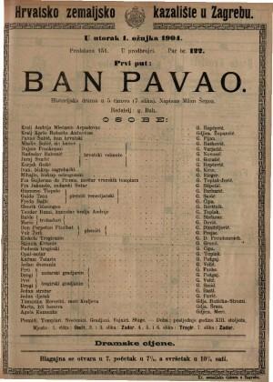 Ban Pavao historijska drama u 5 činova (7 slika) / napisao Milan Šenoa